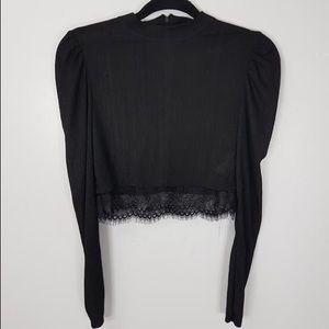Zara highneck long sleeve crop top